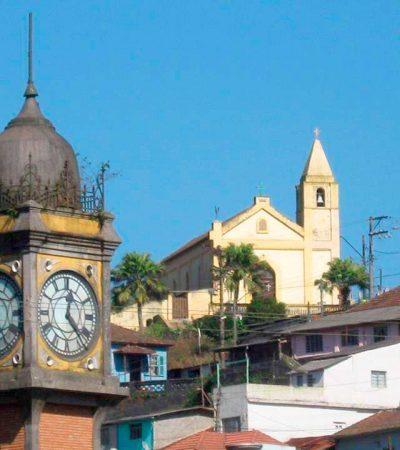 Foto do Relógio Big Ben de Paranapiacaba, Turismo Pedagógico Paranapiacaba, OlhoVivo, Olho Vivo Paranapiacaba